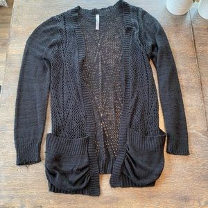 Black knit open cardigan large absolutely creative